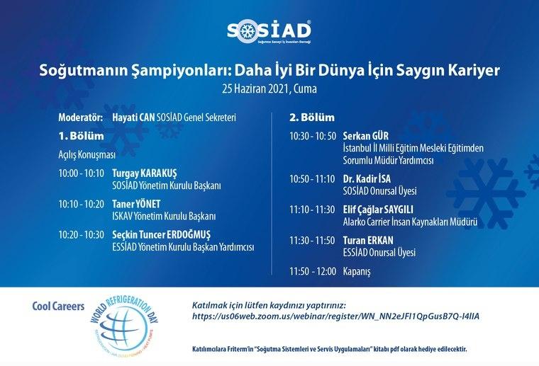 """SOSİAD, Dünya Soğutma Günü'nün 2021 Yılı Etkinliğinde """"Saygın Kariyer"""" Temasıyla Web Seminer Düzenliyor"""